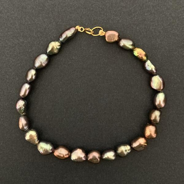 دستبند طلا 18 عیار زنانه الماسین آذر طرح مروارید کد Baroqmesh01