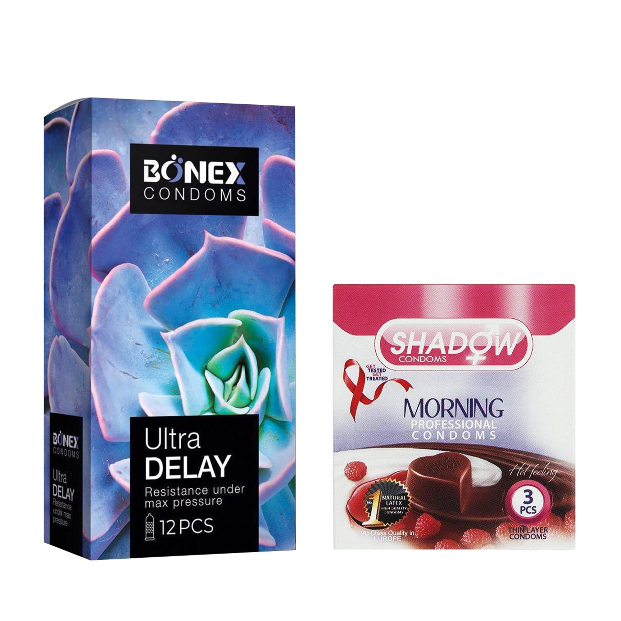کاندوم بونکس مدل Ultra Delay بسته 12 عددی به همراه کاندوم شادو مدل Morning بسته 3 عددی