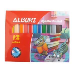 مداد شمعی 12 رنگ البرز مدل گربه