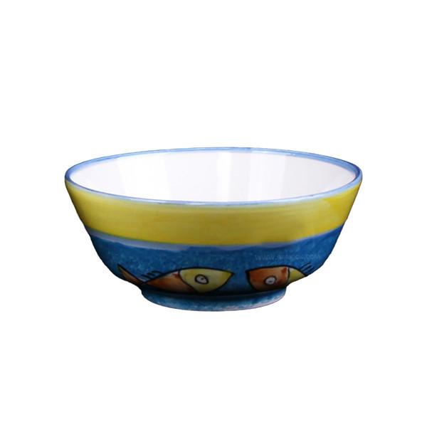 کاسه سفالی آرانیک نقاشی زیر لعابی رنگارنگ طرح ماهی مدل  1004000058