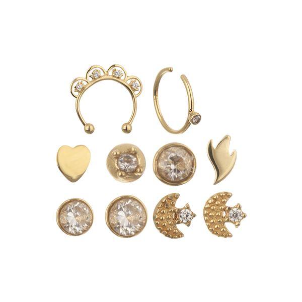 پیرسینگ طلا 18 عیار زنانه مایا ماهک مدل MO0101 مجموعه 10 عددی