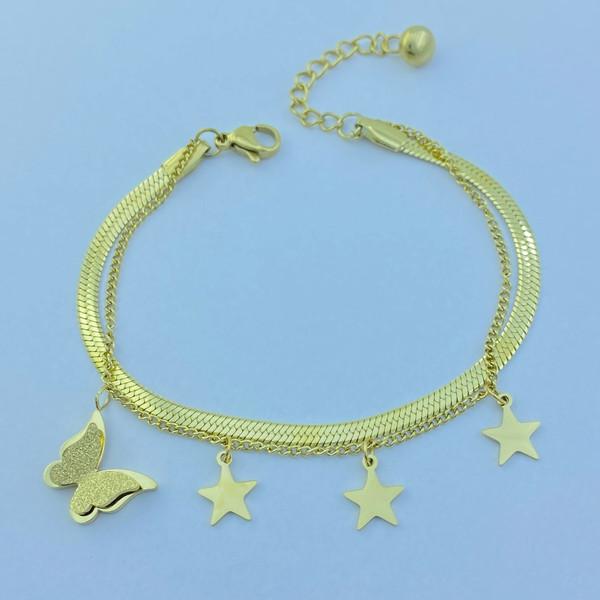 دستبند زنانه استینلس استیل مدل ستاره و پروانه کد B3205