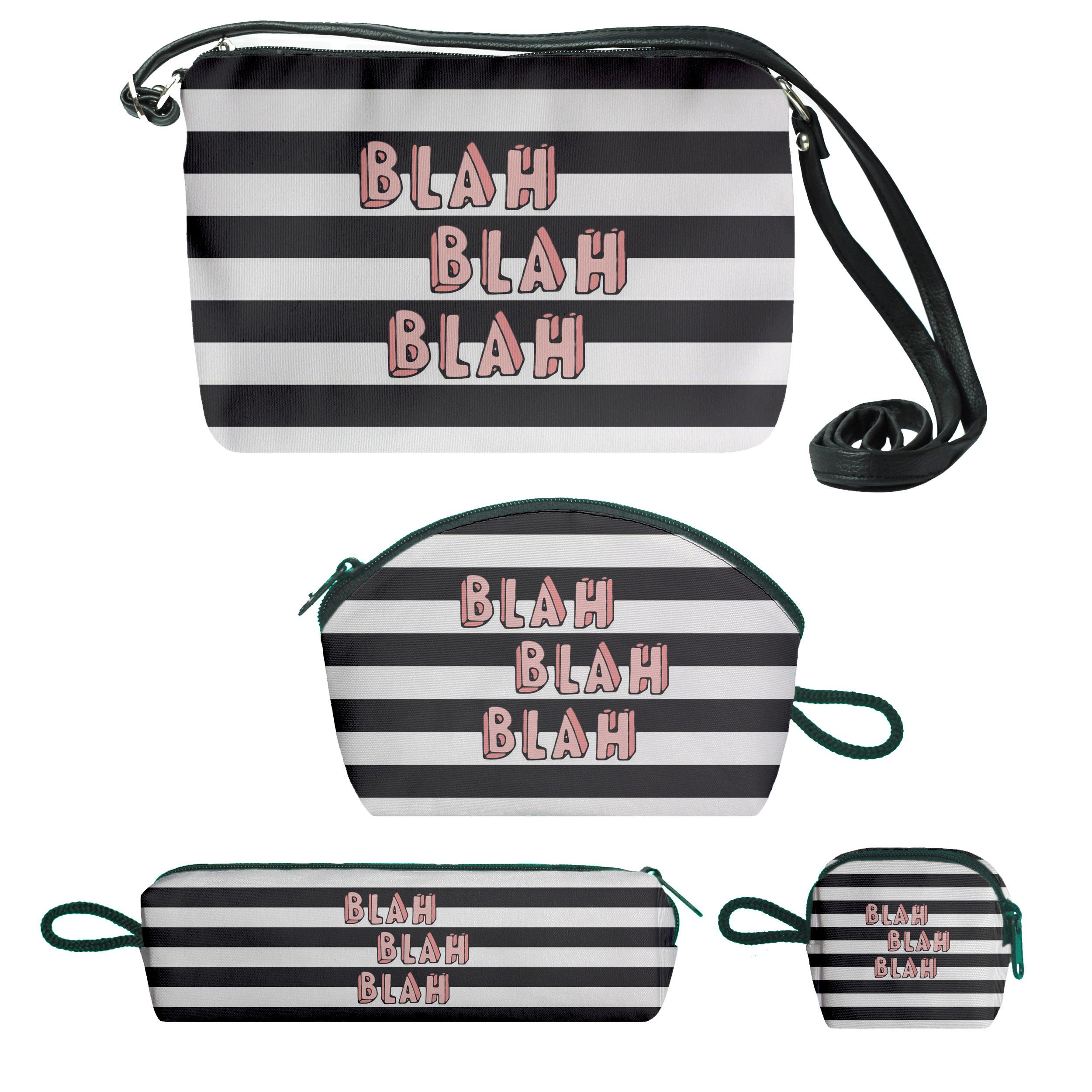 کیف دخترانه طرح blah کد f176 مجموعه 4 عددی