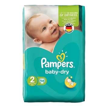پوشک کودک پمپرز مدل New baby dry سایز 2 بسته 58 عددی