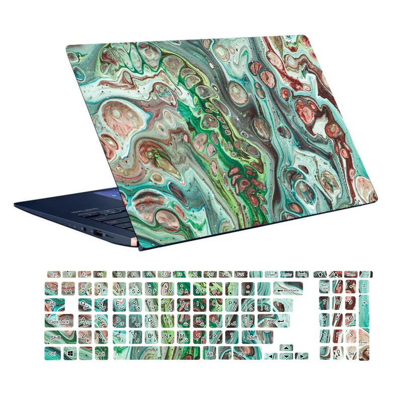 استیکر لپ تاپ توییجین و موییجین طرح Colorful کد 55 مناسب برای لپ تاپ 15.6 اینچ به همراه برچسب حروف فارسی کیبورد