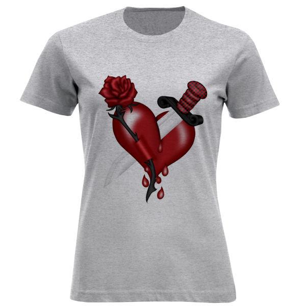 تی شرت آستین کوتاه زنانه مدل قلب و چاقو F882