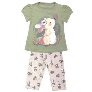 ست تی شرت و شلوارک دخترانه مدل خرگوش کد 3298 رنگ زیتونی