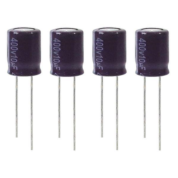 خازن الکترولیت 10میکروفاراد 400 ولت آکسبوم مدل TEC-100400 بسته 4 عددی
