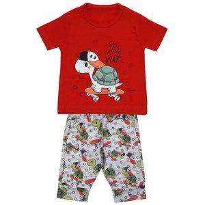 ست تی شرت و شلوارک پسرانه مدل لاک پشتکد 3299 رنگ قرمز