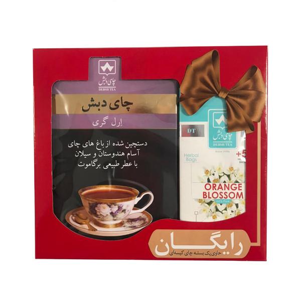 چای ارل گری چای دبش - 500 گرم و دمنوش کیسه ای بهارنارنج دبش بسته 25 عددی