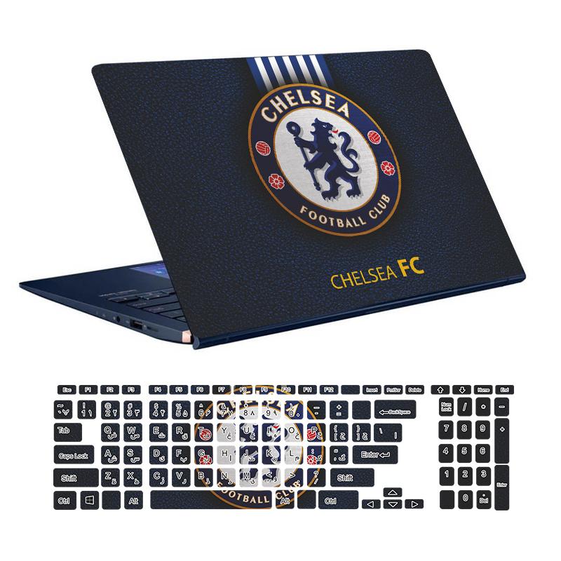 استیکر لپ تاپ توییجین و موییجین طرح Chelsea کد 01 مناسب برای لپ تاپ 15.6 اینچ به همراه برچسب حروف فارسی کیبورد