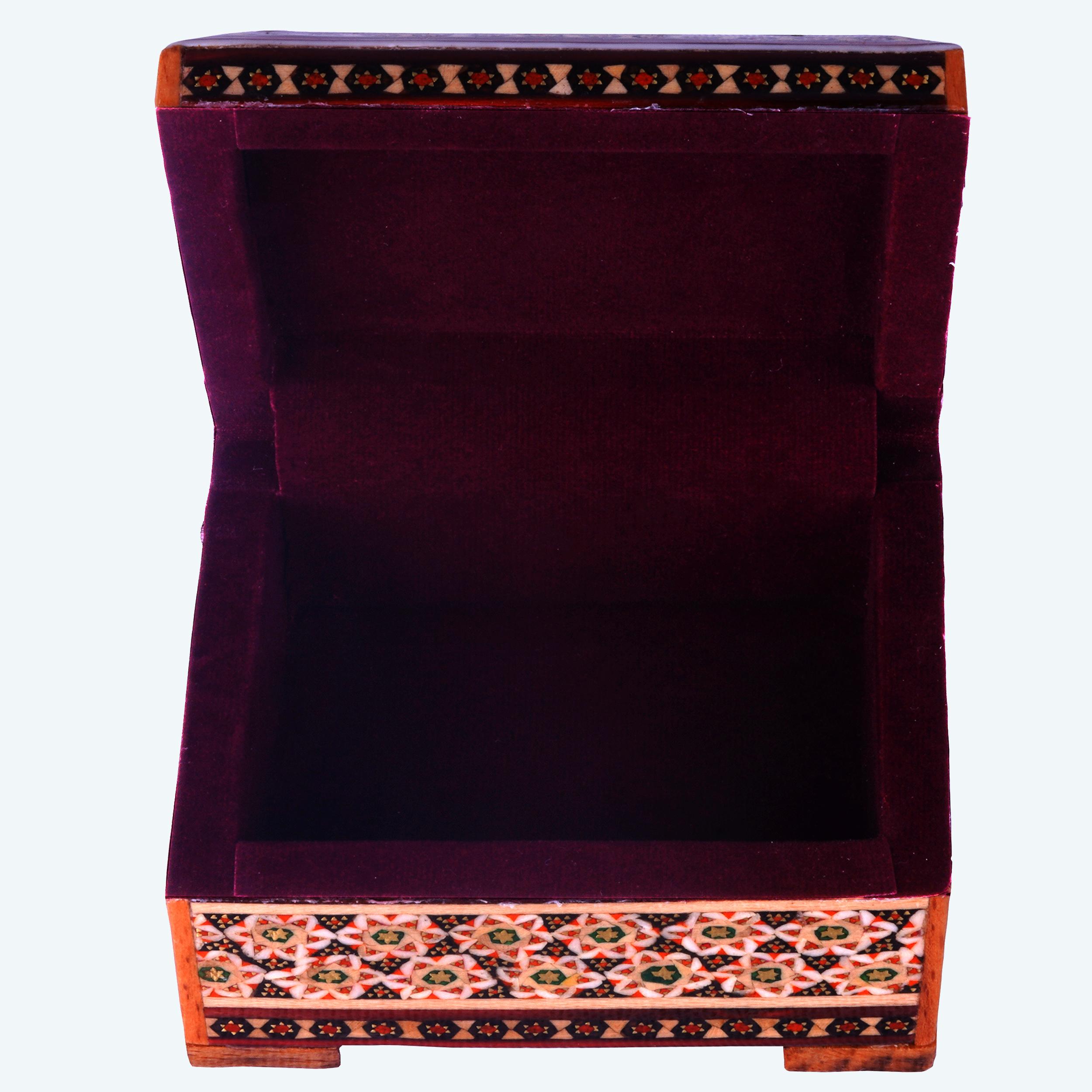 خرید                      جعبه جواهرات خاتم کاری مدل گل و مرغ کد 18
