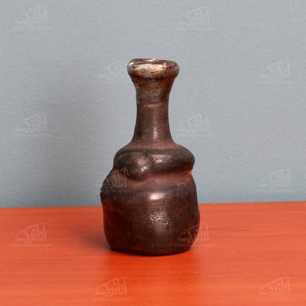 گلدان شیشه گری با حرارت مستقیم   خاکستری طرح صحرا  مدل 1015900053
