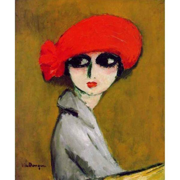 تابلو نقاشی رنگ روغن طرح دختری با کلاه کد 001