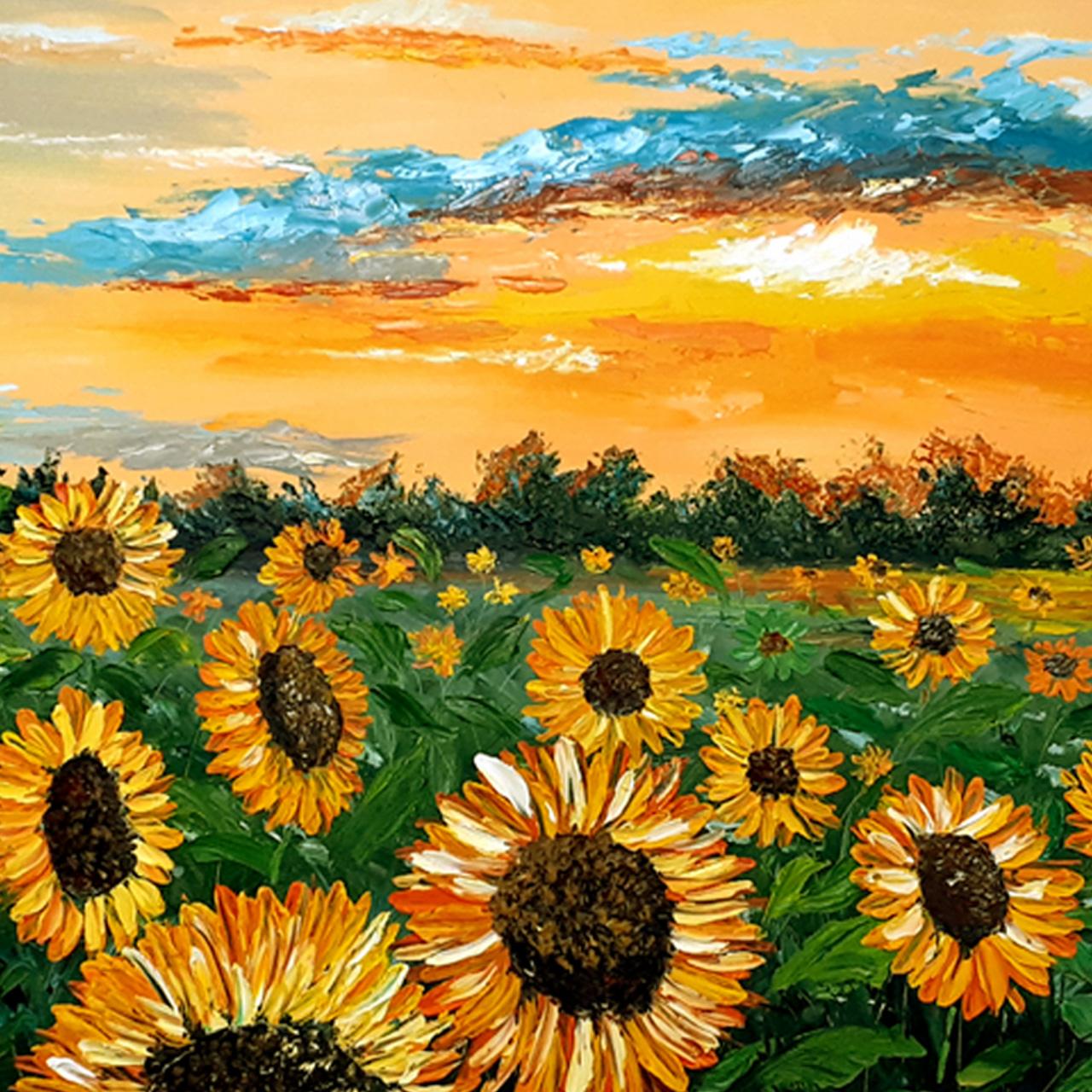خرید                      تابلو نقاشی رنگ روغن طرح مزرعه آفتابگردان کد 0052