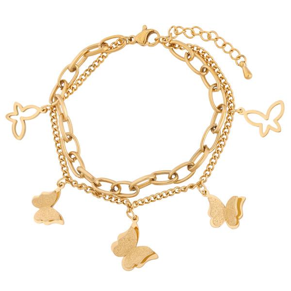 دستبند زنانه استینلس استیل مدل پروانه کد B3407