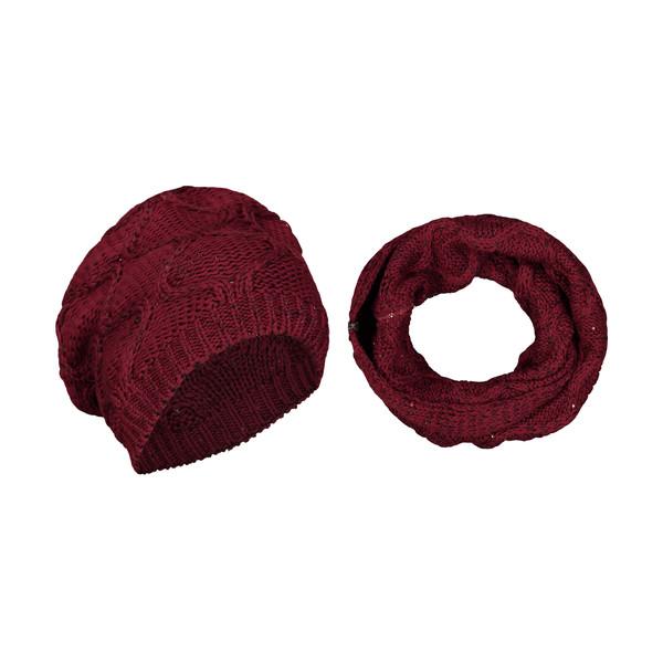 ست کلاه و شال گردن بافتنی زنانه رویا مدل 20019-17
