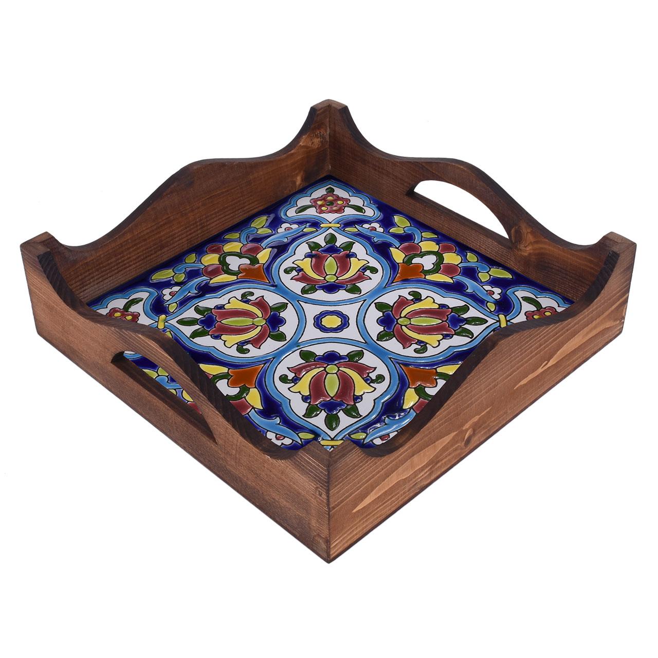 خرید                      سینی کاشی کاری چوبی مدل شاه عباسی کد 14-27
