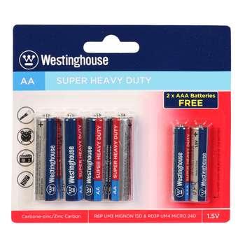باتری قلمی و نیم قلمی وستینگهاوس مدل R6P R03P بسته 6 عددی