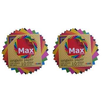 کاغذ اوریگامی مکث مدل رنگین کمان کد B2020 بسته 100 عددی مجموعه 2 عددی