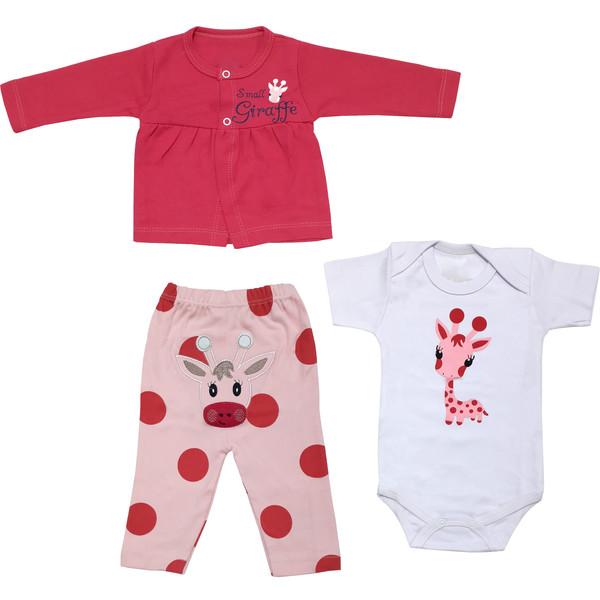 ست 3 تکه لباس نوزادی دخترانه طرح زرافه کد 48