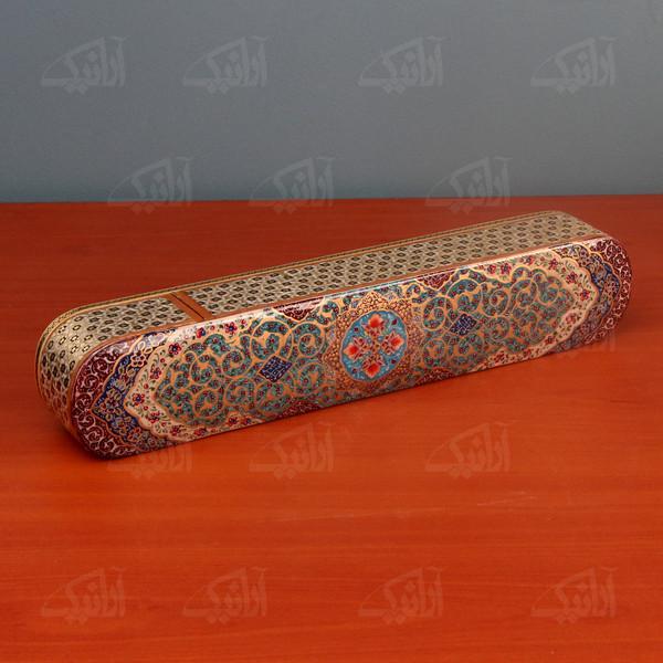جعبه مضراب آرانیک خاتم فیروزه ای طرح اسلیمی مدل 1121500001