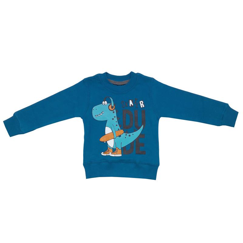ست سویشرت و شلوار پسرانه طرح دایناسور اسکیت باز کد 3108 رنگ کله غازی