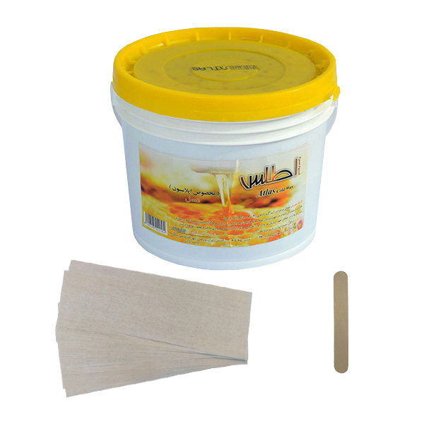 موم موبر اطلس مدل عسل حجم 3700 میلی لیتر به همراه پد اپیلاسیون بسته 50 عددی و آبسلانگ موم بسته 10 عددی