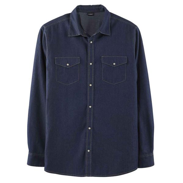 پیراهن آستین بلند مردانه لیورجی مدل 2426653 رنگ آبی تیره