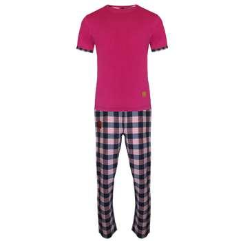 ست تی شرت و شلوار مردانه لباس خونه مدل طهکد 4514794 رنگ سرخابی