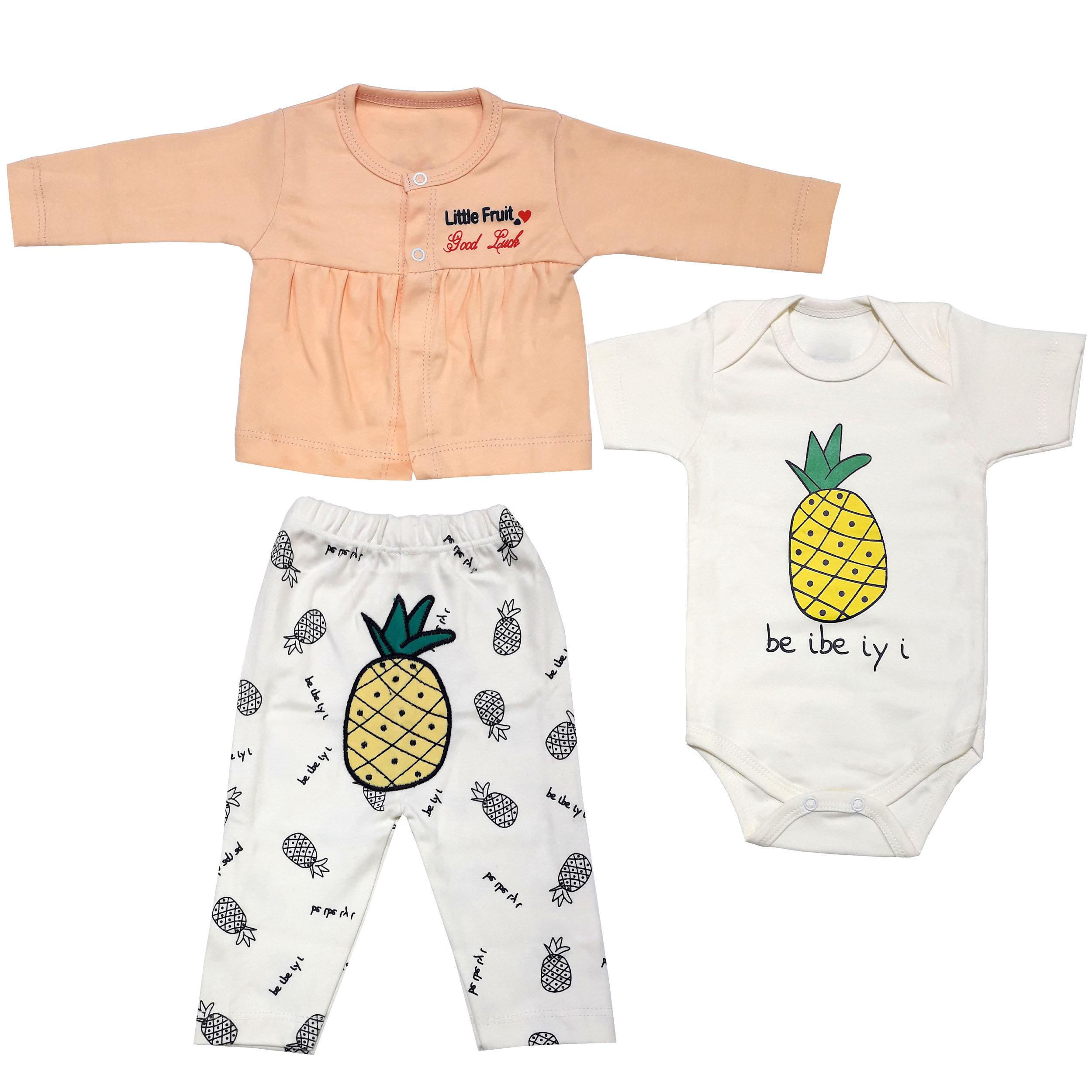 ست 3 تکه لباس نوزادی دخترانه طرح آناناس کد 3216