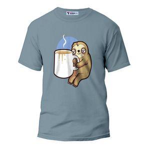 تیشرت زنانه طرح تنبل عاشق قهوه کد ART-0383-S رنگ آبی طوسی