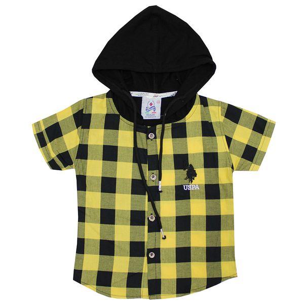 پیراهن پسرانه مدل چهارخونه رنگ زرد غیر اصل