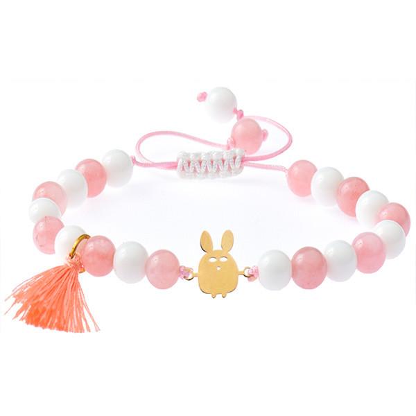 دستبند طلا 18 عیار دخترانه کرابو طرح خرگوش مدل Krd1031