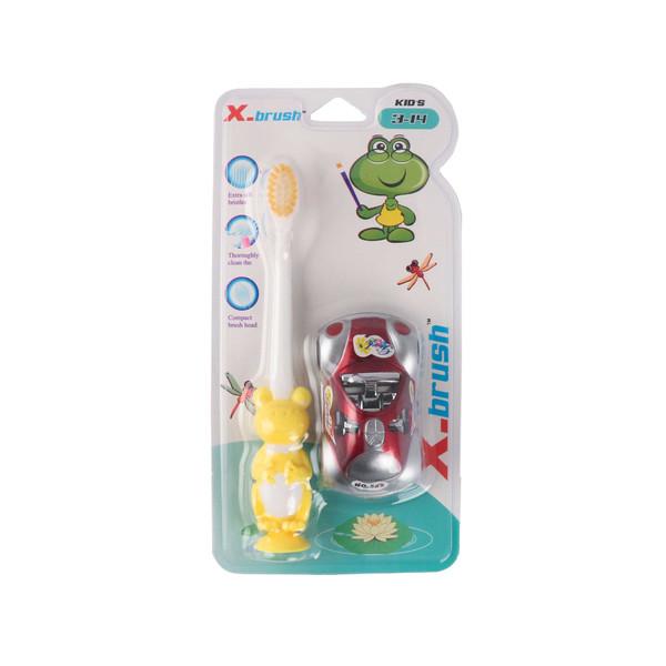 مسواک کودک ایکس براش کد 8333 با برس نرمبه همراه ماشین اسباب بازی