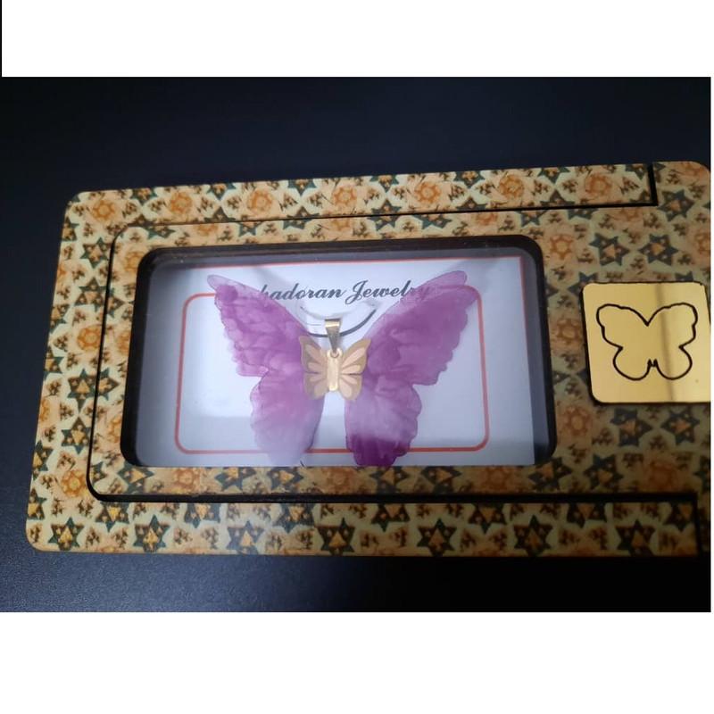 آویز گردنبند طلا 18 عیار زنانه گالری یارطلا مدل پروانه کد AP05