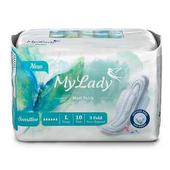 نوار بهداشتی بالدار مای لیدی مدل Maxi sensitive سایز بزرگ بسته 10 عددی