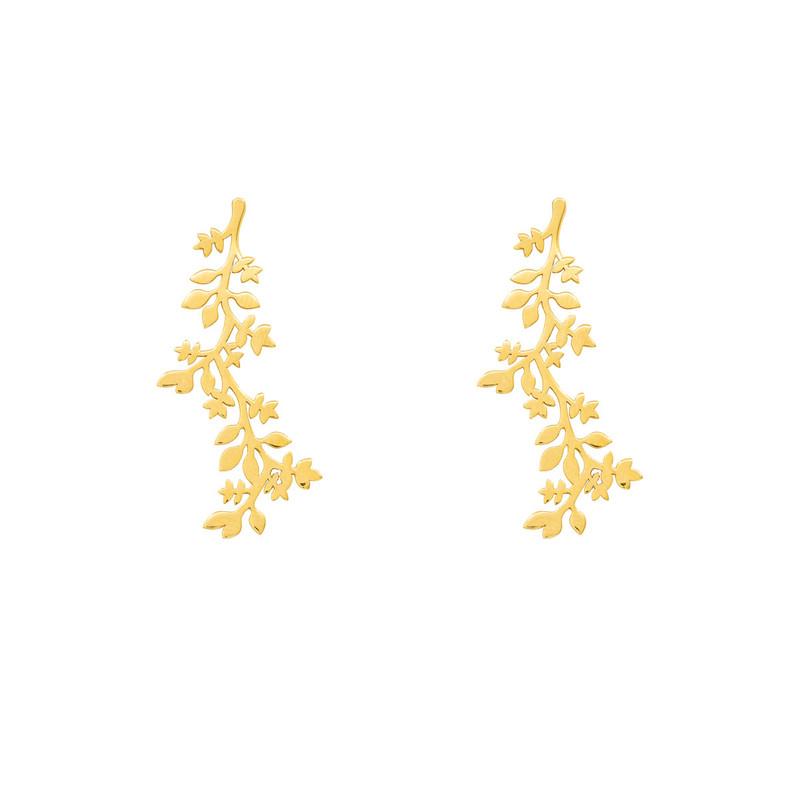 گوشواره طلا 18 عیار زنانه آمانژ طرح برگ کد 1211D9135
