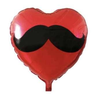 بادکنک فویلی مدل قلب Heart And Mustache کد 6699