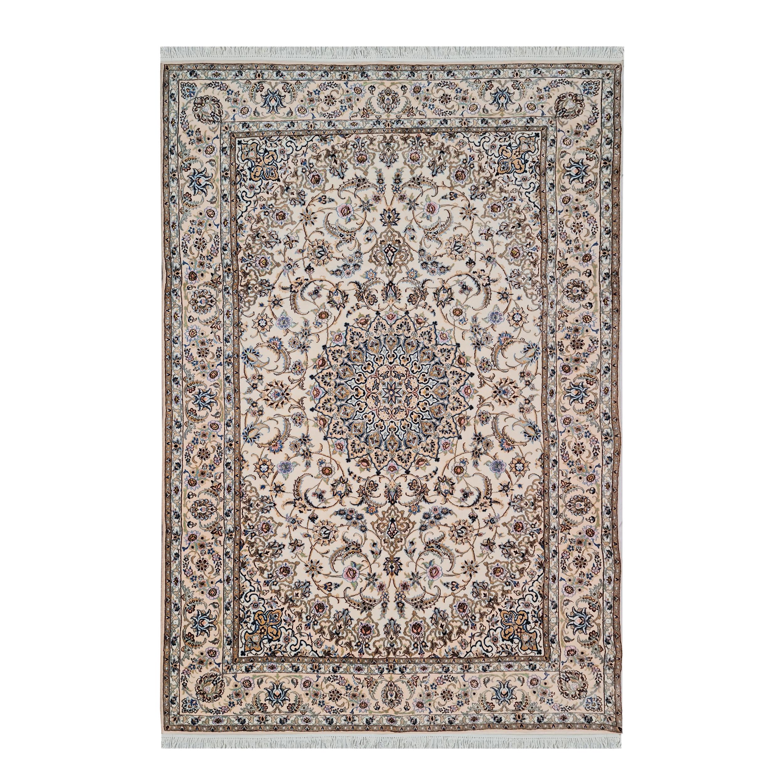 فرش دستبافت شش و نیم متری مدل نایین کد 1100
