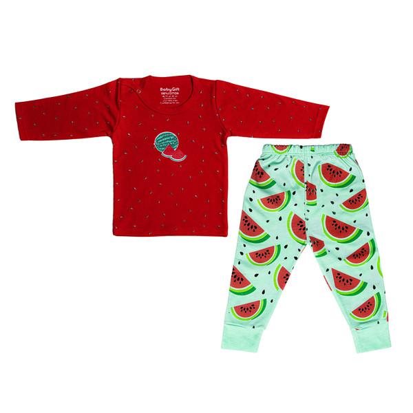 ست تی شرت و شلوار نوزادی مدل هندوانه کد 11