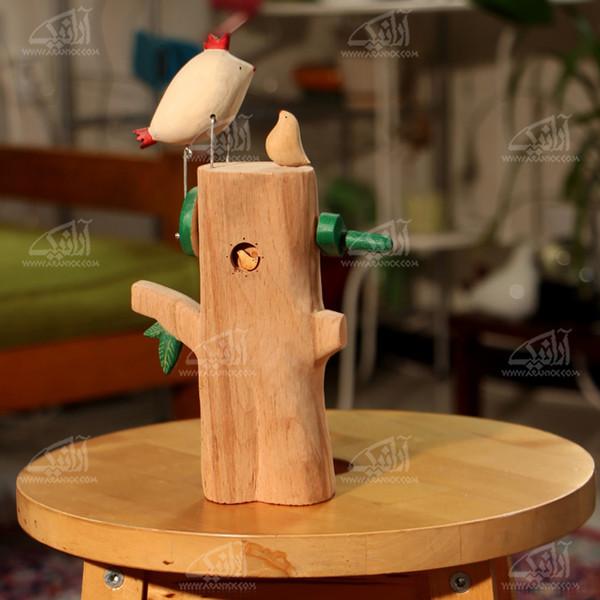 مجسمه چوبی  رنگ آمیزی رنگ قهوه ای روشن طرح درختچه مهر مدل 1105900004