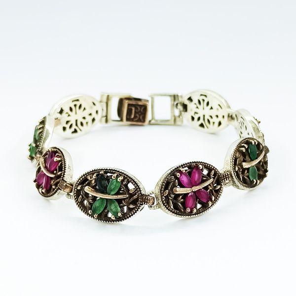 دستبند نقره زنانه سلین کالا مدل یاقوت و زمرد ce-As123