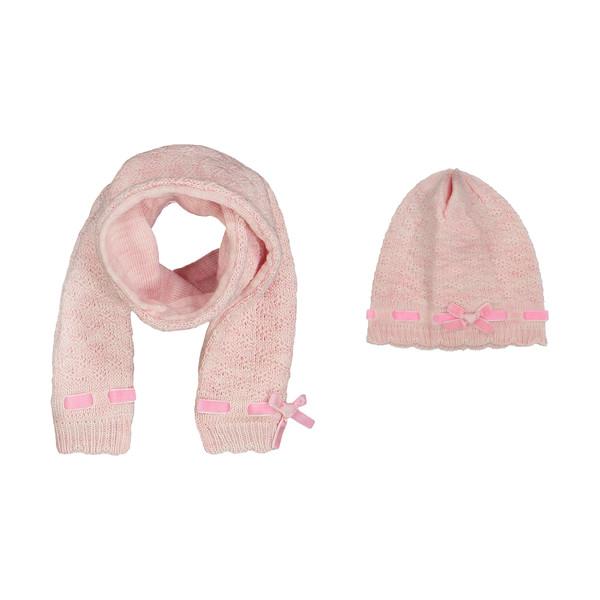 ست کلاه و شال گردن نوزادی دخترانه فیورلا کد 3813