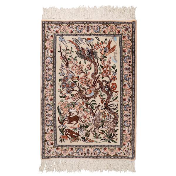 فرش دستبافت یک متری طرح شکارگاهی کد 1402915