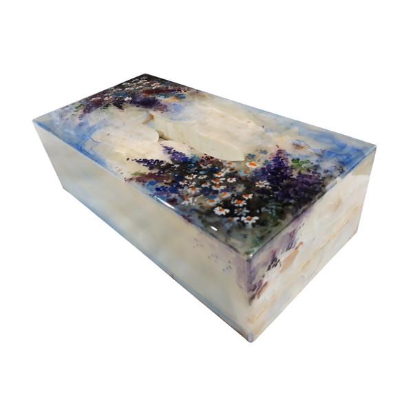 جعبه دستمال کاغذی سنگ مرمر طرح باغ ارغوانی مدل EG014