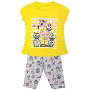 ست تی شرت و شلوارک دخترانه مدل لک لک کد 3350 رنگ زرد