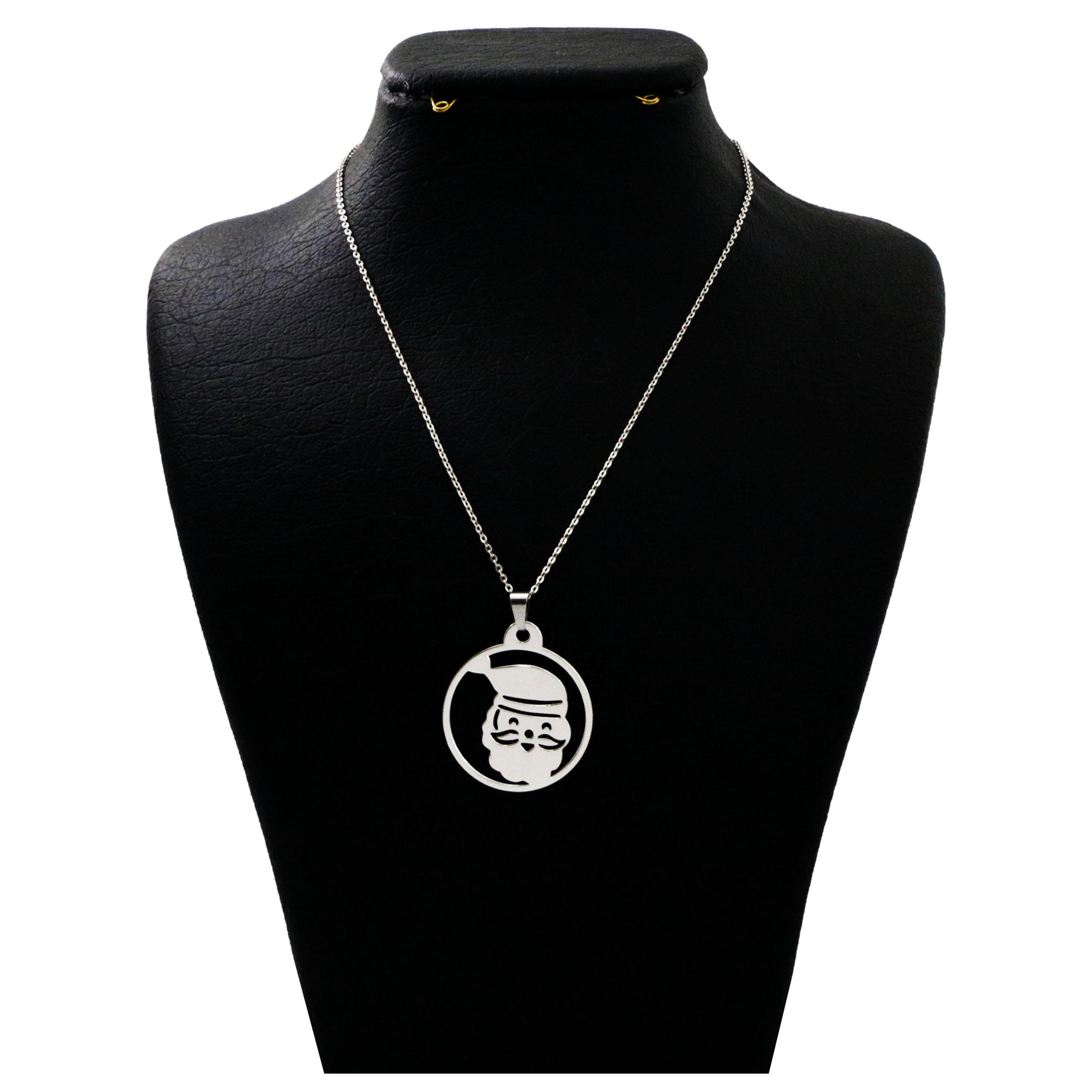 گردنبند نقره زنانه  مدل دلی جم طرح بابا نوئل  کد D408