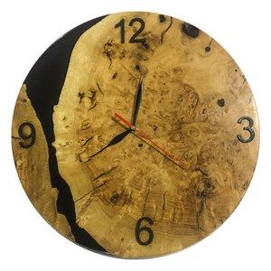 ساعت دیواری رزین و چوب مدل Black River O121