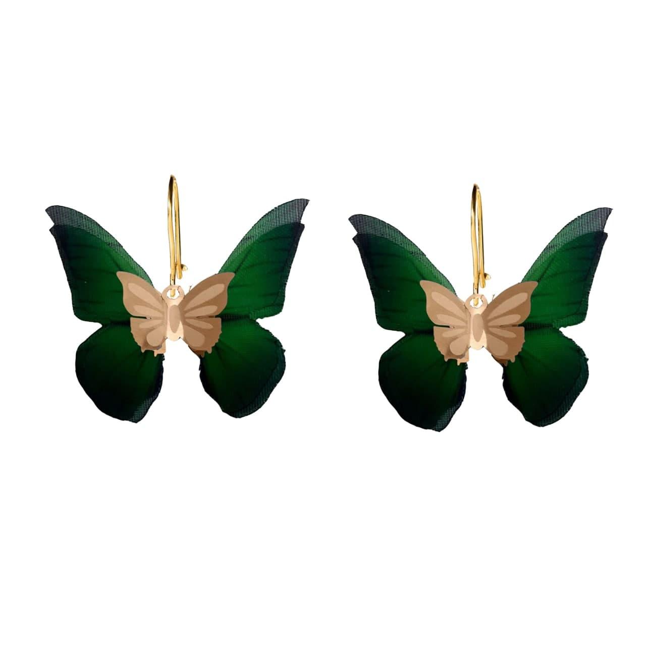گوشواره طلا 18 عیار زنانه  گالری یارطلا مدل پروانه کد AGP26